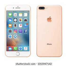 Kyiv, Ukraine - January 24, 2018: Front and back view of Apple iPhone 8 Plus Gold  isolated on white background with clipping path