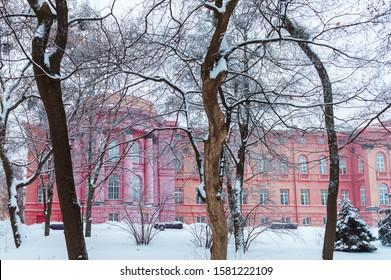 KYIV, UKRAINE - JANUARY 28,2019: Taras Shevchenko National University of Kyiv bulding after snow storm in Kyiv, Ukraine on January 28, 2019.