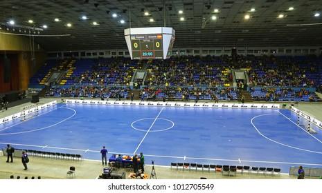 KYIV, UKRAINE - JANUARY 29, 2017: Panoramic view of Palats of Sports in Kyiv during friendly Futsal match Ukraine v Spain
