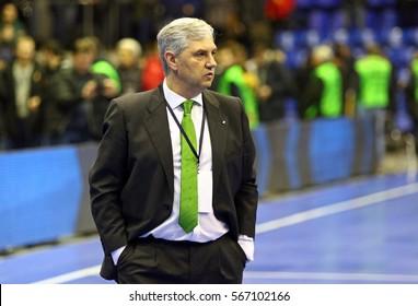 KYIV, UKRAINE - JANUARY 29, 2017: Head Coach of Spain National Team Jose Venancio Lopez Hierro looks on during friendly Futsal match against Ukraine at Palats of Sports in Kyiv, Ukraine