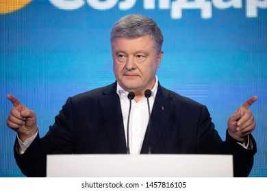 KYIV, UKRAINE - Jul 21, 2019: Fifth President of Ukraine and Leader of European Solidarity party Petro Poroshenko in the party headquarters with the team