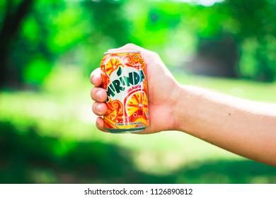 KYIV, UKRAINE - JULY 04, 2018:Beverage canister Mirinda orange. Mirinda is a brand of soft drink originally created in Spain in 1959, with global distribution.