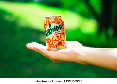 KYIV, UKRAINE - JULY 04, 2018:Beverage canister Mirinda orange. Mirinda is a brand of soft drink originally created in Spain in 1959, with global distribution.
