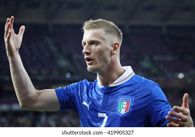 KYIV, UKRAINE - JULY 1, 2012: Ignazio Abate of Italy in action during UEFA EURO 2012 Final game against Spain at Olympic stadium in Kyiv, Ukraine