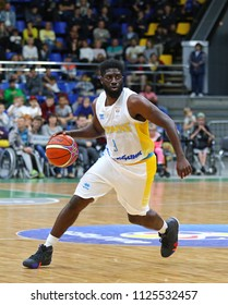 KYIV, UKRAINE - JULY 1, 2018: Eugene Jeter of Ukraine in action during the FIBA World Cup 2019 European Qualifiers game against Latvia at Palace of Sports in Kyiv. Latvia won 93-71