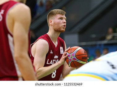KYIV, UKRAINE - JULY 1, 2018: Davis Bertans of Latvia in action during the FIBA World Cup 2019 European Qualifiers game Ukraine v Latvia at Palace of Sports in Kyiv. Latvia won 93-71
