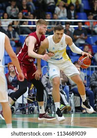 KYIV, UKRAINE - JULY 1, 2018: Davis Bertans of Latvia (L) and Vyacheslav Bobrov of Ukraine in action during their FIBA World Cup 2019 European Qualifiers game at Palace of Sports. Latvia won 93-71