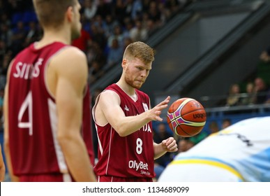 KYIV, UKRAINE - JULY 1, 2018: Davis Bertans of Latvia in action during the FIBA World Cup China 2019 European Qualifiers game Ukraine v Latvia at Palace of Sports in Kyiv. Latvia won 93-71