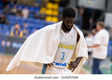 KYIV, UKRAINE - JULY 1, 2018: Eugene Jeter looking angry and upset straight into camera at dramatic close-up portrait. FIBA World Cup 2019 European Qualifiers match Ukraine-Latvia