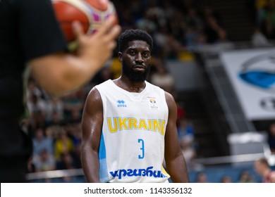 KYIV, UKRAINE - JULY 1, 2018: Eugene Jeter close-up portrait looking sthraight into camera. FIBA World Cup 2019 European Qualifiers match Ukraine-Latvia