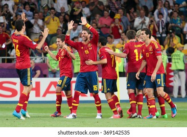 KYIV, UKRAINE - JULY 1: Spain national football team celebrates their victory of the UEFA EURO 2012 Championship at Olympic stadium on July 1, 2012 in Kyiv, Ukraine