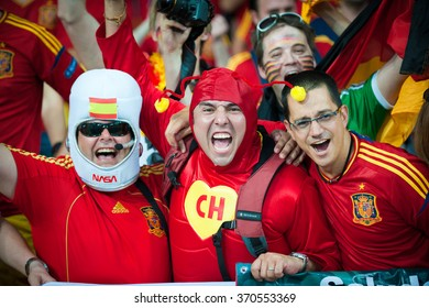 KYIV, UKRAINE - JULY 1: Spain  national football team supporters show their support during UEFA EURO 2012 Championship at Olympic stadium on July 1, 2012 in Kyiv, Ukraine