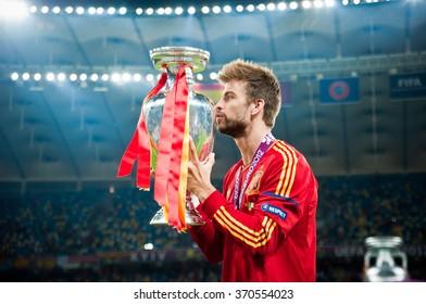 KYIV, UKRAINE - JULY 1: Spain national football team celebrates their victory of the UEFA EURO 2012 Championship at Olympic stadium on July 1, 2012 in Kyiv, Ukraine