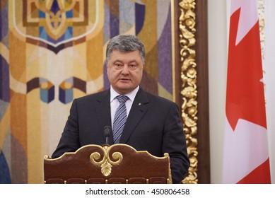 KYIV, UKRAINE - JULY 11: Ukrainian President Petro Poroshenko on diplomatic meeting with Canadian Prime Minister Justin Trudeau in Kyiv.