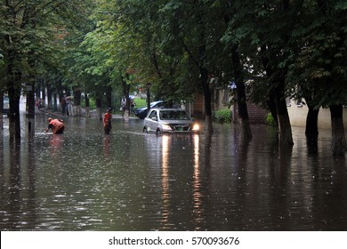 Kyiv, Ukraine - July 12, 2011: Many streets in the city were flooded after heavy rain.