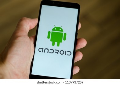 Kyiv, Ukraine- July 12, 2018: Android logo on screen Xiaomi Redmi Note 5.