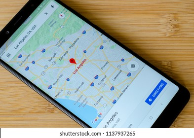 Kyiv, Ukraine- July 12, 2018: Google Maps on screen Xiaomi Redmi Note 5.