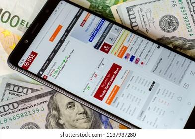Kyiv, Ukraine- July 12, 2018: NSE - National Stock Exchange of India Ltd. website on screen Xiaomi Redmi Note 5.