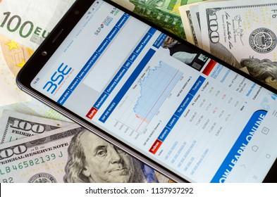 Kyiv, Ukraine- July 12, 2018: Bombay Stock Exchange (BSE) website on screen Xiaomi Redmi Note 5.