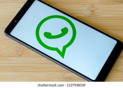 Kyiv, Ukraine- July 12, 2018: WhatsApp logo on screen Xiaomi Redmi Note 5.