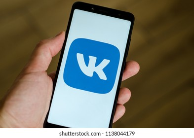 Kyiv, Ukraine- July 12, 2018: VKontakte logo on screen Xiaomi Redmi Note 5.