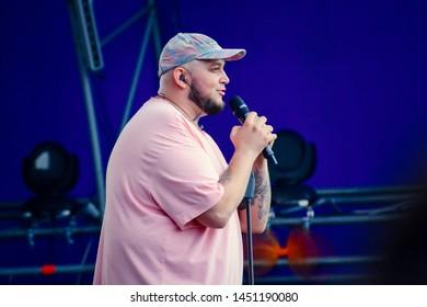 KYIV, UKRAINE - JULY 14, 2019: Singer Kyivstoner (Albert Vasiliev) during Music Festival Atlas Weekend 2019