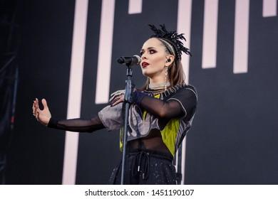 KYIV, UKRAINE - JULY 14, 2019: Julia Sanina soloist of the group The Hardkiss during Music Festival Atlas Weekend 2019