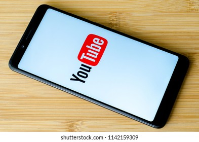 Kyiv, Ukraine- July 15, 2018: YouTube logo on screen Xiaomi Redmi Note 5.
