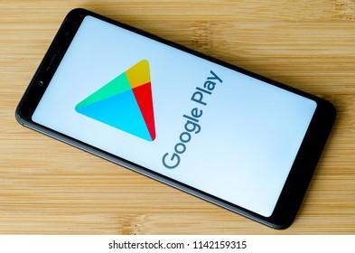 Kyiv, Ukraine- July 15, 2018: Google Play logo on screen Xiaomi Redmi Note 5.