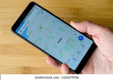 Kyiv, Ukraine- July 15, 2018: Google Maps on screen Xiaomi Redmi Note 5.