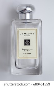 KYIV, UKRAINE - JULY 19, 2017: perfume Jo Malone on a white background. Joe Malone London is famous for its expensive perfume, luxurious candles, bath products and room fragrances.