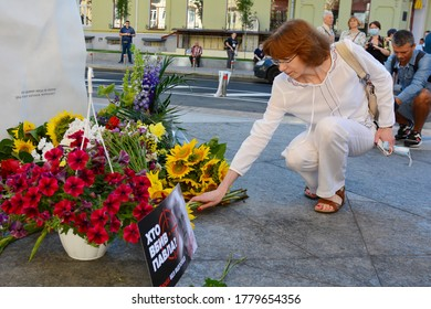 KYIV, UKRAINE - JULY 20, 2020: Unveiling of a monument to Pavlo Sheremet, a journalist with Ukrayinska Pravda, who died in a car bomb explosion on July 20, 2016 in Kyiv