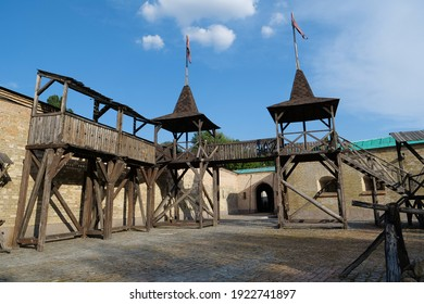 KYIV, UKRAINE, JULY 28, 2020: Old wooden installation in Kyiv fortress - complex of fortifications built from the 17th through 19th centuries - Shutterstock ID 1922741897