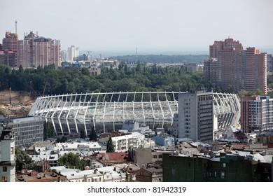 KYIV, UKRAINE - JULY 29: The Olympic Stadium Under Construction Ready For The UEFA EURO 2012. July 29, 2011, Kyiv, Ukraine