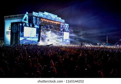 KYIV, UKRAINE - JULY 3, 2018: Stage and people during  at the Atlas Weekend Festival in National Expocenter