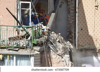 KYIV, UKRAINE - JULY 8, 2017: Consequences of gas explosion in an apartment building, causing at least two deaths, drawing hundreds of emergency responders
