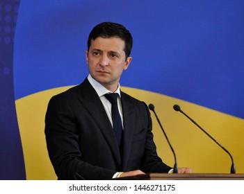 KYIV, UKRAINE- July 8, 2019: Ukraine President Volodymyr Zelensky speaks news conference during the Ukraine-EU Summit in Kiev.