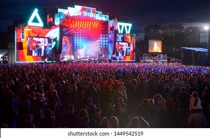 KYIV, UKRAINE - JULY 9, 2019: Main Stage during Music Festival Atlas Weekend 2019