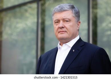 KYIV, UKRAINE - Jun 06, 2019: Ex-President of Ukraine, Chairman of the European Solidarity Party Petro Poroshenko during a briefing in Kiev