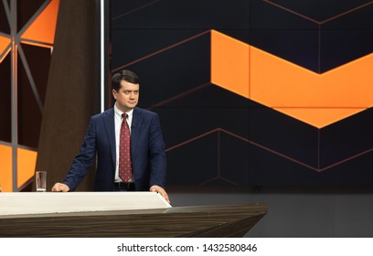 KYIV, UKRAINE - Jun 21, 2019: The leader of the party Sluga Naroda (The Servant of the People) Dmitry Razumkov during a teleether on the channel Ukraine
