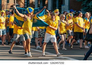 Kyiv, Ukraine - June 11, 2012: UEFA Euro 2012. Swedish football fans go to the stadium.