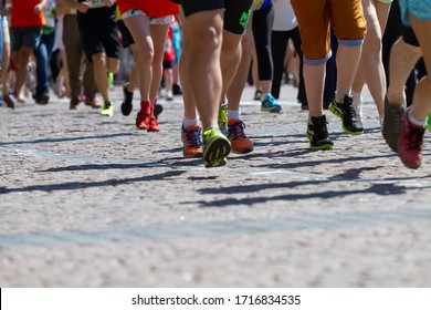 Kyiv, Ukraine - June 1,2015:Athletes legs running half marathon Chestnut Run in Kyiv, Ukraine