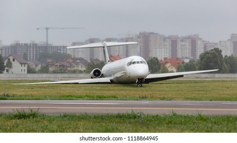 Kyiv, Ukraine, June 14 2018. Igor Sikorsky Kyiv International Airport (Zhuliany) - UKKK. Accident Bravo Airways, McDonnell Douglas MD-83. After landing, the aircraft rolled out beyond the run.