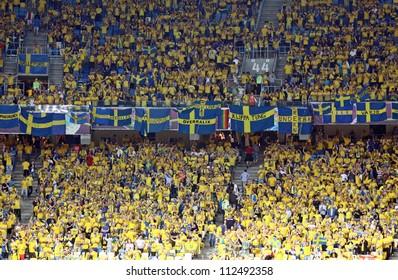 KYIV, UKRAINE - JUNE 15: Sweden fans at NSC Olympic stadium during their UEFA EURO 2012 game against England on June 15, 2012 in Kyiv, Ukraine