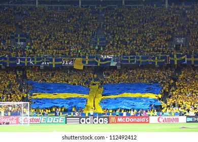 KYIV, UKRAINE - JUNE 15: Sweden fans show their support at NSC Olympic stadium during their UEFA EURO 2012 game against England on June 15, 2012 in Kyiv, Ukraine
