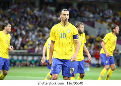 KYIV, UKRAINE - JUNE 15: Zlatan Ibrahimovic of Sweden looks on during UEFA UERO 2012 game against England on June 15, 2012 in Kyiv, Ukraine