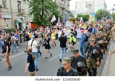 KYIV, UKRAINE - JUNE 17, 2018: Participants in the March of Equality in support of the LGBT community in Kiev