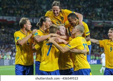 KYIV, UKRAINE - June 19, 2012 EURO 2012 soccer match against Sweden and France