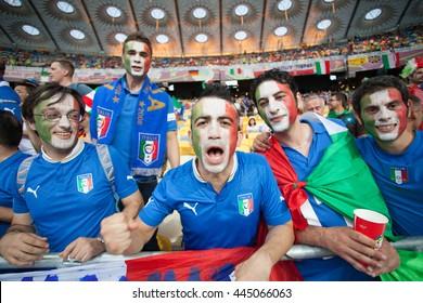 KYIV, UKRAINE - JUNE 19, 2012:  Italian fans show their support during final UEFA EURO 2012 game of Italian National football team against Spain at NSC Olimpiyskiy