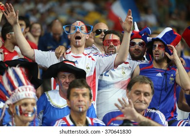 KYIV, UKRAINE - JUNE 19: France national football team supporters show their support  before UEFA EURO 2012 game against Sweden on Olympic stadium (NSC Olimpiysky) on June 19, 2012 in Kyiv, Ukraine.